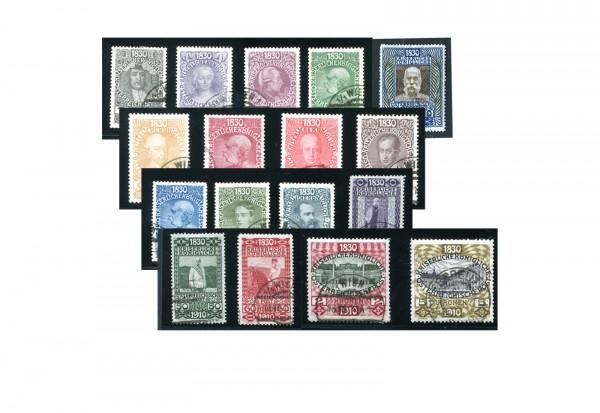 Briefmarken Österreich Sonderausgabe 1910 Michel-Nr. 161-177 Falz