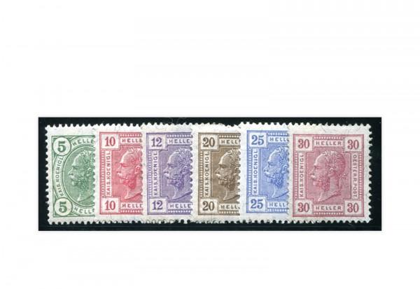 Briefmarken Österreich Zeitungsmarken 1906 Mi.Nr. 133-138 Falz