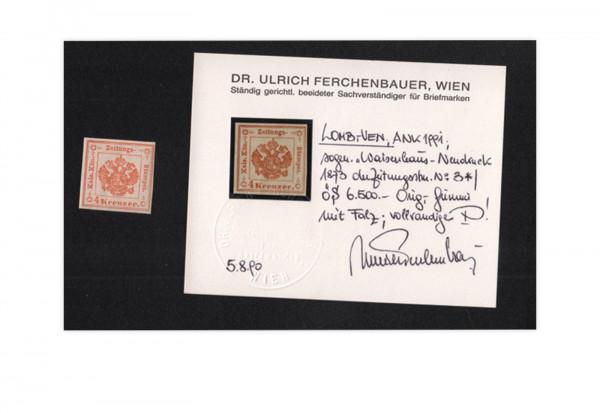Österreich Lombardei-Venetien Mi.Nr. 3 ND X * Zeitungsstempelmarke Fotobefund Ferchenbauer