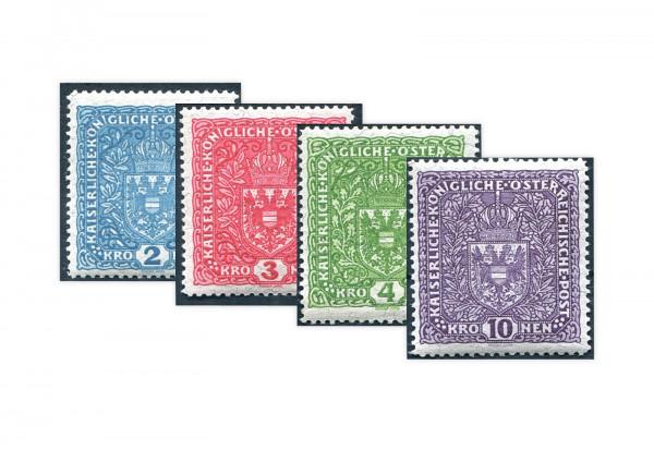 Briefmarken Kaiserreich Österreich Wappenzeichnung 1917 Michel-Nr. 208-211 II Falz