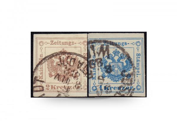 Briefmarke Österreich Zeitungsstempelmarke 1877 Michel-Nr. 5/6 Falz