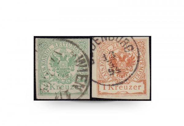 Briefmarke Österreich Zeitungsstempelmarke 1890 Michel-Nr. 7/8 gestempelt