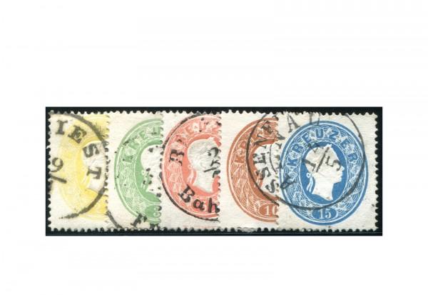 Österreich Kaiserreich 1860/61 Mi.Nr. 18/22 Kaiserkopf im Oval gestempelt