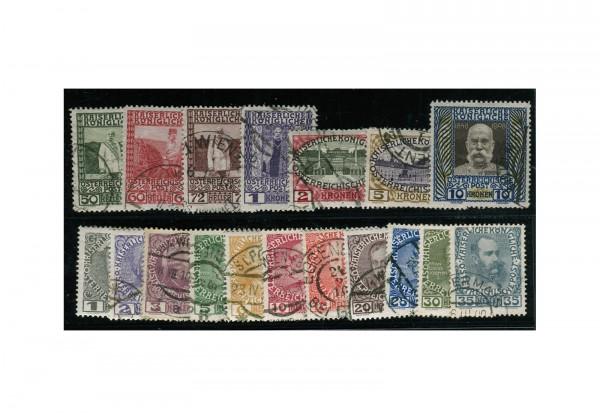 Briefmarken Österreich Kaiserreich Franz Joseph 1908 Michel-Nr. 139/156 gestempelt