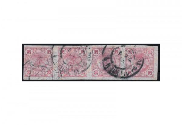 Österreich Kaiserreich Zeitungsmarken 1899 Merkurkopf Michel Nr. 104 Viererstreifen gestempelt