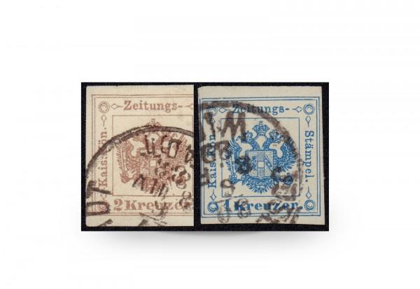 Briefmarke Österreich Zeitungsstempelmarke 1877 Michel-Nr. 5/6 gestempelt