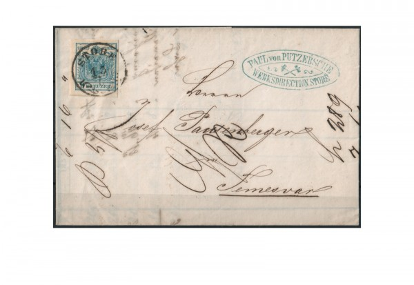 Kaiserreich Österreich Mi.Nr. 5 9 Kreuzer 1850/54 auf Brief