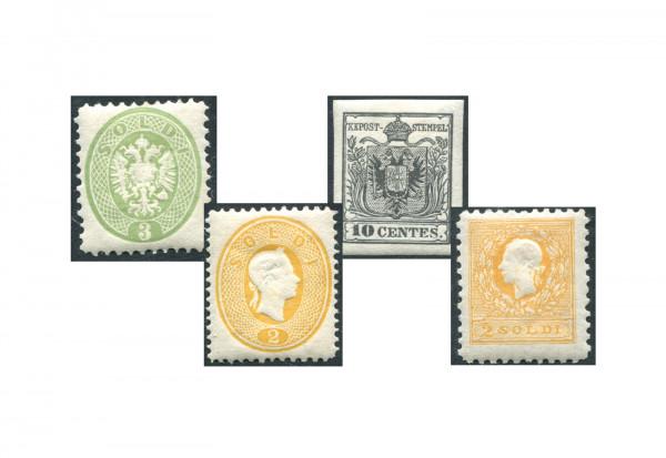 Briefmarken Lombardei und Venetien 1850-1864 4 verschiedene amtliche Neudrucke