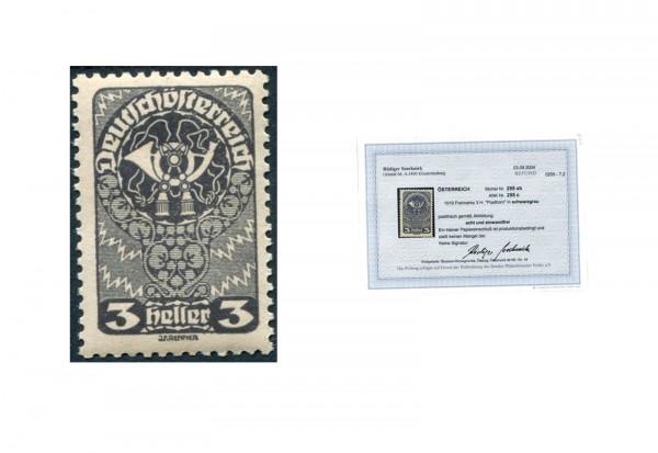 Österreich Mi.Nr. 255 b ** mit Befund (ANK 255c) Posthorn 1919/20