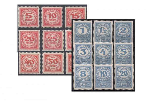 Österreich Portomarken Ausgabe 1920/1 Michel Nr. P 75/92 postfrisch
