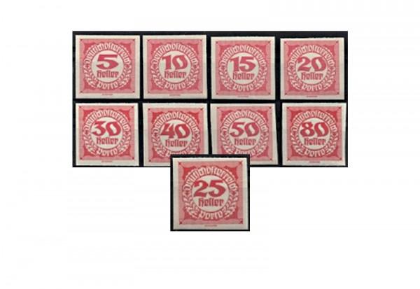 Österreich Portomarken Ausgabe 1920 II Michel Nr. P 93/101 postfrisch