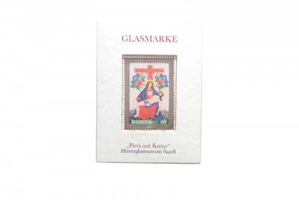 Österreich Briefmarke aus Glas ** Pieta mit Kreuz