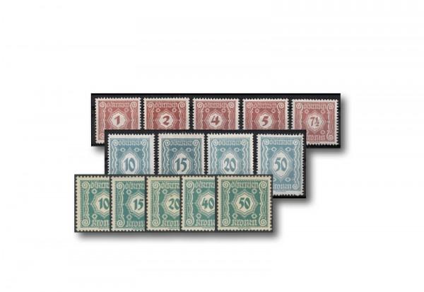 Briefmarken Österreich Portomarken 1922 Michel-Nr. 103-117 postfrisch