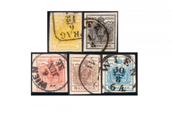 Österreich Wappen 1850 Michel-Nr. 1/5 gestempelt