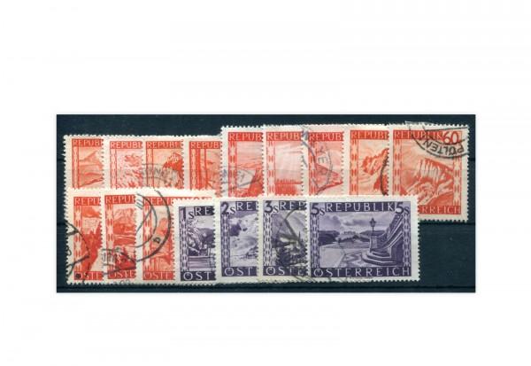 Österreich Landschaften 1947 Michel Nr. 838/53 gest.