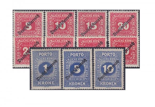 Österreich Portomarken Ausgabe 1919 Michel Nr. 64/74 gestempelt