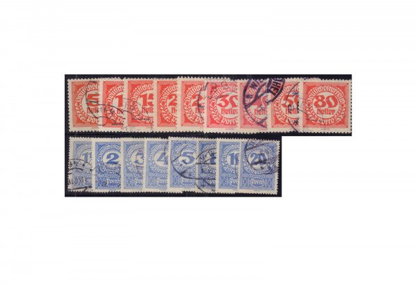 Österreich Portomarken Ausgabe 1920/1 Michel Nr. 75/92 gestempelt