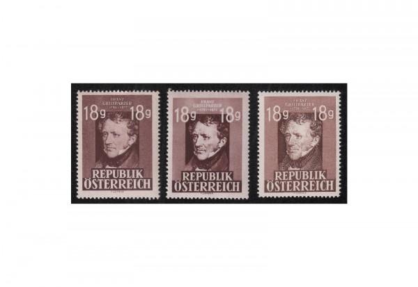 Österreich 1947: 75. Todestag con Franz Grillparzer Michel Nr. 802, A 802 I und II gestempelt