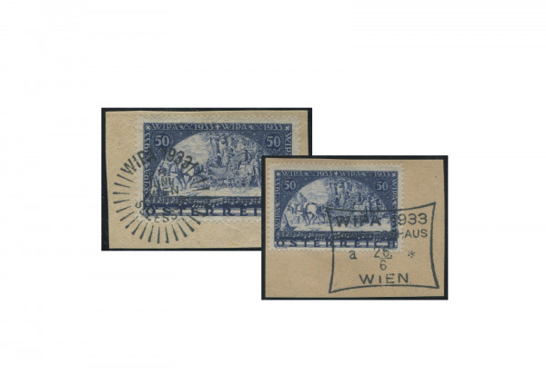 Briefstücken Österreich Wipa 1933 Michel-Nr. 555/556 gestempelt