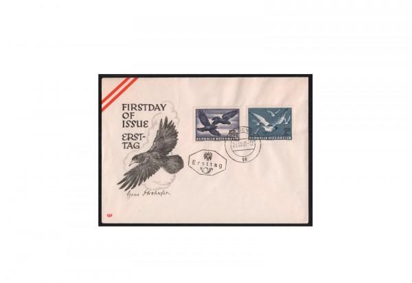 Österreich FDC Vögel auf Ersttagsbrief 1950 Michel-Nr. 955/956