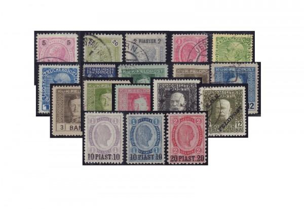 Briefmarken Österreich Kaiserreich ca. 1880/1918 Levante und Feldpost 50 Marken postfrisch und geste