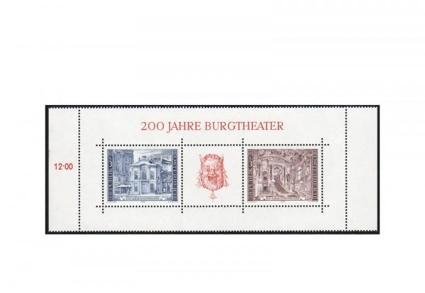 Österreich Block 3 ** 200 Jahre Burgtheater