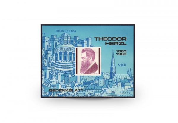 Gedenkblock Österreich Theodor Herzl 1978 nummeriert