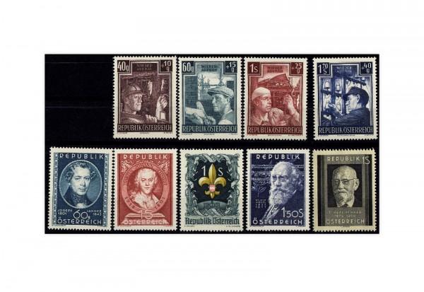 Österreich Mi.Nr. 959/967 Jahrgang 1951 postfrisch 9 Briefmarken