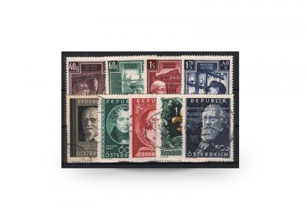 Österreich Mi.Nr. 959/967 Jahrgang 1951 gestempelt 9 Briefmarken