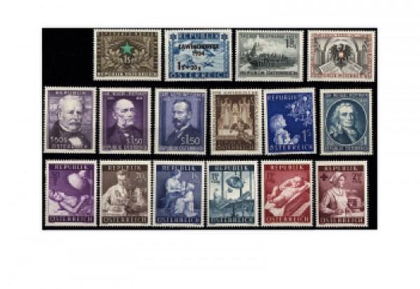 Briefmarken Österreich Jahrgang 1954 16 Marken Michel-Nr. 996/1011 gestempelt