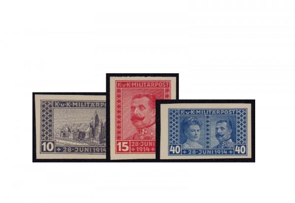 Briefmarke Österreich/Bosnien Herzegowina 1917 Michel-Nr. 121-123 U postfrisch
