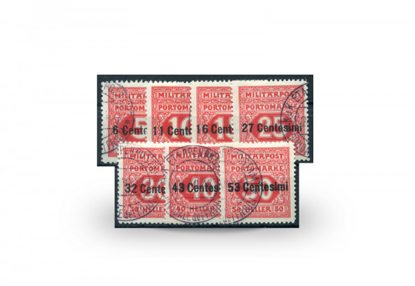 Briefmarke Feldpost Österreich/Italien Portomarken 1918 Michel-Nr. 1/7 postfrisch