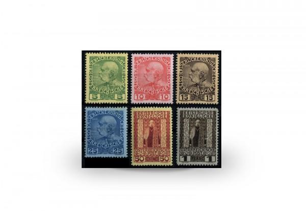 Briefmarken Österreich/Kreta Franz Joseph 1908 Michel-Nr. 17/22 postfrisch
