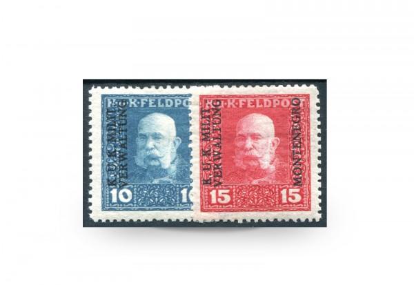 Briefmarke Österreich Ungarn/Montenegro Feldpost Franz Joseph 1917 Michel-Nr. 1/2 Falz