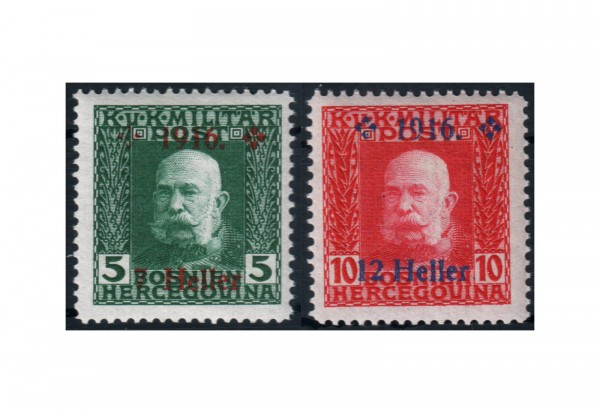 Bosnien-Herzegowina Freimarken 1916 Mi.Nr. 95-96 Falz