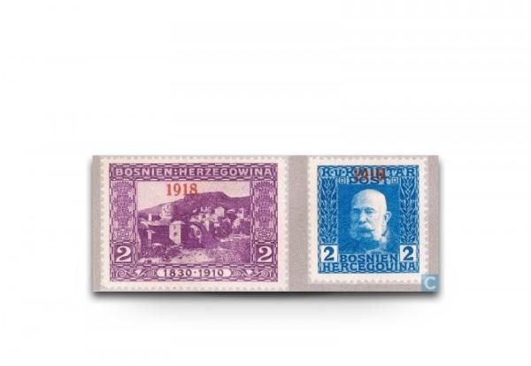 Briefmarke Österreich/Bosnien Herzegowina 1918 Michel-Nr. 147-148 Falz