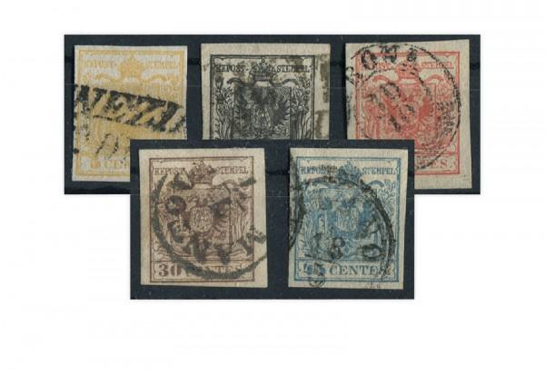 Lombardei und Venetien 1850/7 Freimarken Wappenzeichnung Mi.Nr. 1/5 gest.