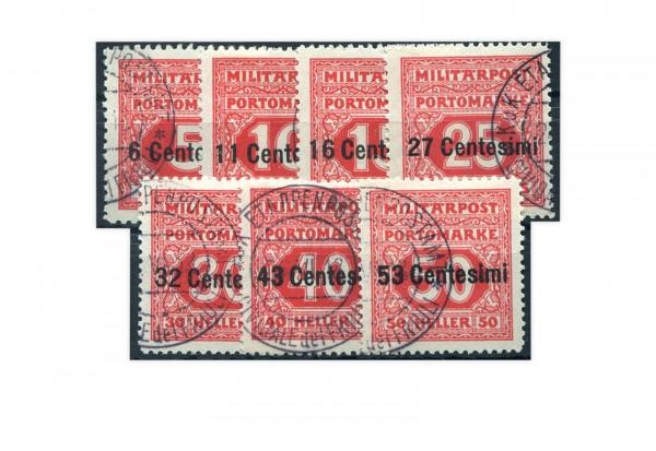 Österreichisch-ungarische Feldpost Mi.Nr. P 1-7 gest.
