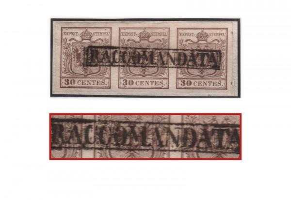 Lombardei-Venetien Mi.Nr. 4 Xa 3er-Streifen gestempelt rechts Andreaskreuz-Ansatz