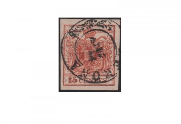 Österreich Veroneser Postfälschung 1850 bis 1853 Michel Nr. 3 PFä gestempelt mit Fotoattest