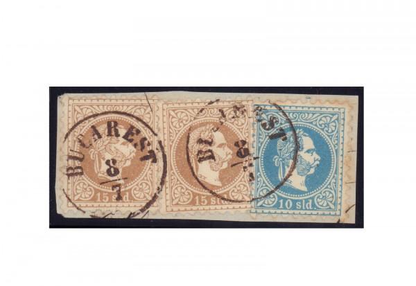 Briefmarken Österreich Levante Michel-Nr. 4 I + 5 I gestempelt auf Briefstück