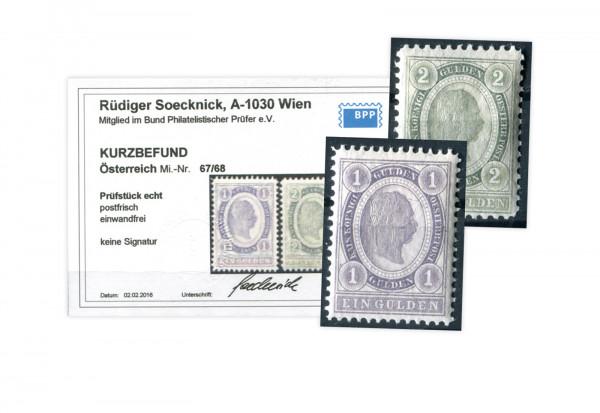 Österreich ANK Mi.Nr. 67/68 ** Befund Kaiserkopf im Eirund