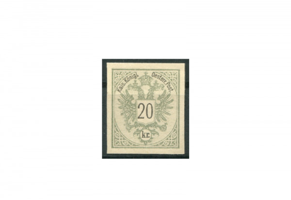 Briefmarke Österreich 20 Kreuzer Doppeladler 1883 Michel-Nr. 48 PU III ungezähnt Fotobefund