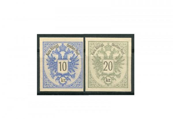 Briefmarken Österreich Doppeladler 1883 Michel-Nr. 47 PU III + 48 PU III im Set