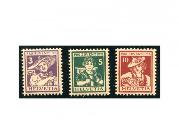 Briefmarken Schweiz Pro Juventute Trachten 1916 Michel-Nr. 130/132 postfrisch