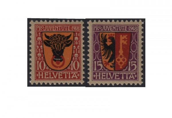 Schweiz Mi.Nr. 143/144 postfrisch Wappen 1918 ZNR 10/11