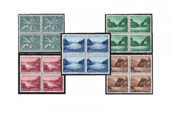 Schweiz Mi.Nr. 627/631 postfrisch VB Pro Patria 1956