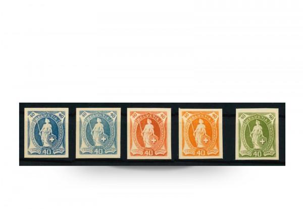 Schweiz Helvetia Mi.Nr. 61 P (*) 1882/1903 5 Probedrucke ungummiert + ungezähnt