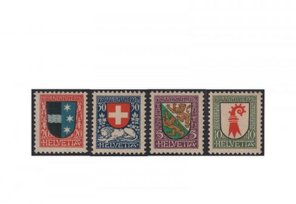 Schweiz Mi.Nr. 218/221 gestempelt Pro Juventute Wappen