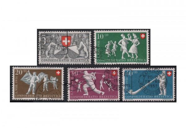 Schweiz Pro Patria 1951 Michel Nr. 555/9 gestempelt